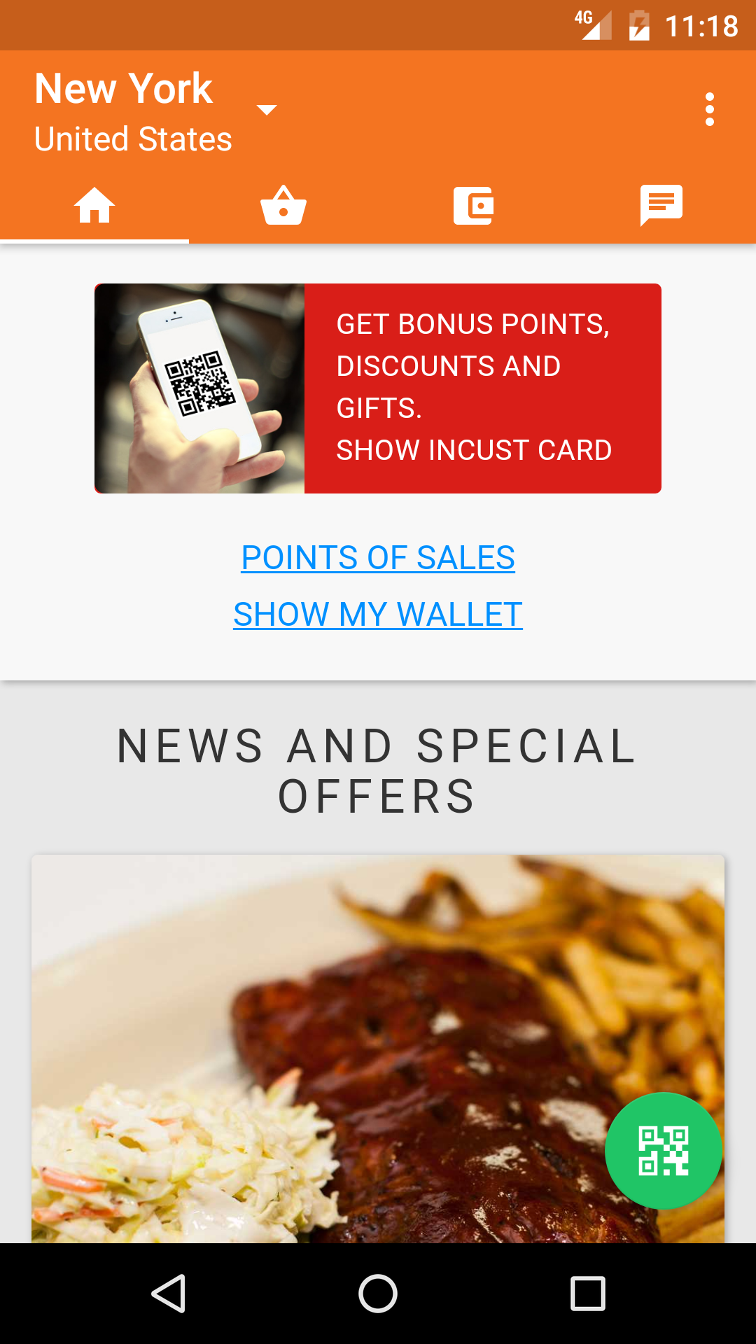 inCust mobile app: information about the company, points of sale, contacts, loyalty programs.